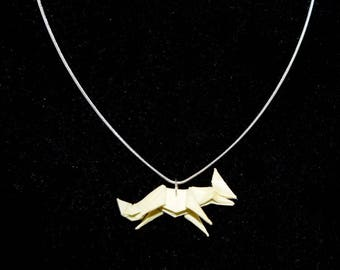 Origami Fox Pendant Necklace in Yellow - Handmade Jewellery - Origami Jewelry - Paper Pendant - Yellow Fox - Gifts for Her - Gifts for Him