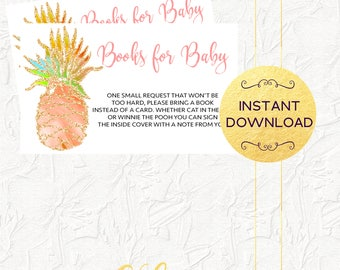 Tropical Books for Baby Insert, Pineapple Books for Baby Insert, Tropical Baby Shower, Baby Shower Invitation Insert, Instant Download
