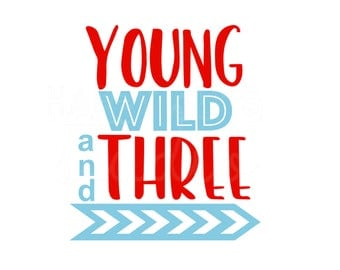 Young Wild and Three Animal Print 3rd Birthday Gift Party Boy Girl  / Iron On Decal Glitter Iron Vinyl Decal for shirt