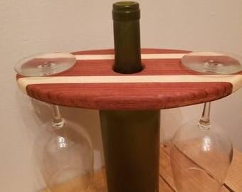 Hardwood Wine Display // Wine and Glass Display // Two Glass Wine Display // Wine and Glass Holder