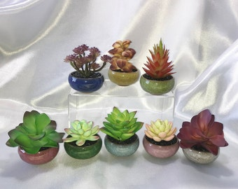Mini Colorful Ceramic Succulent Planter, Faux Succulent, Desk Accessory, Artificial Succulent Arrangement, Succulent Gift