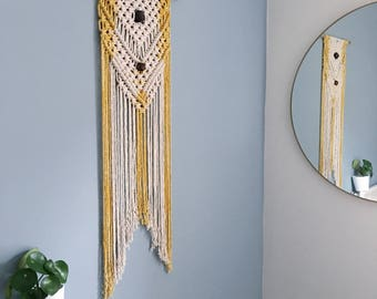 Handmade Macrame Wall Hanging / Large Arrow Design / Naturally Dyed / Wood Beads