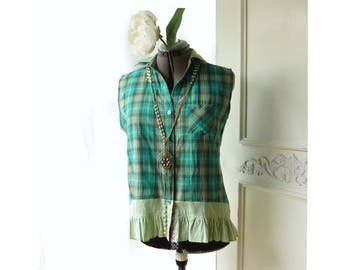 Upcycled Reworked blouse- sleeveless ooak top,  Teal Plaid top, shabby cottage chic, mixed print, size large, eco friendly top, all cotton