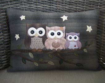 Owl Cushion, Owl Pillow, Quilted Cushions, Quilted Pillows, Owl Gift, Owl Present, Decorative Owl - Owl Family at Night Cushion