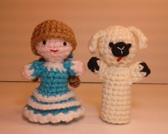 Mary Had a Little Lamb (Blue) Finger Puppets