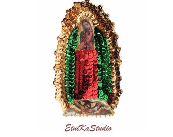 mini Virgin of Guadalupe / Our Lady of Guadalupe / Virgin Mary Mexican sequin applique patch