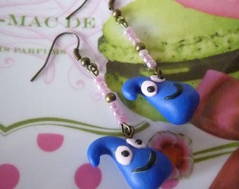 Earrings in antique bronze snowman thingy drop kawaii dark blue polymer clay and seed beads