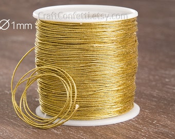 Gold string 1mm Gold metallic cord Yellow craft cord Golden thin cord Metallic woven braid cord Sew supplies Wrapping supplies / 3 meters