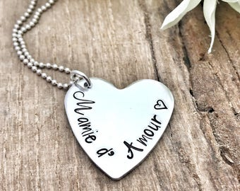 Heart Stamped Necklace, Gift Mother Children's Names, Necklace Mamie, Stamped Necklace Mamie