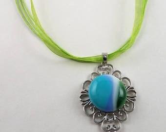 Fused Glass Snap Necklace - Elegant Filigree Design
