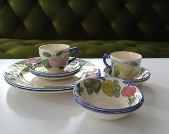 Vintage, Franciscan made in England, 10 piece set, tea cups and saucers, dinner plates, bowls, floral, fruits, tea time, victorian,