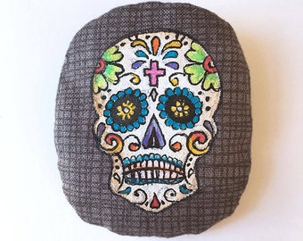 BROOCH CALAVERA, illustration handpainted on fabric