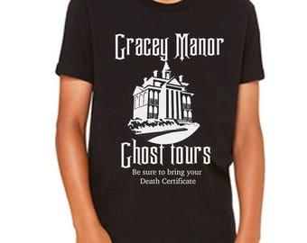 Disney Youth Shirt Disney Halloween Shirt Haunted Mansion Shirt Gracey Manor Ghost Tours Shirt Disneyland Shirt Disney World Shirt