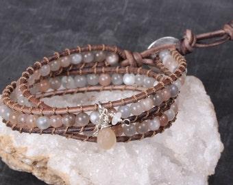 Chan Luu Style Bracelet, Chan Luu, Chan Luu Moonstone Bracelet, Leather Bracelet, Leather Wrap Bracelet, Stacked Bracelet, Bohemian Bracelet