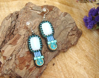 Beaded earrings Embroidery earrings Elegant earrings Bohemian earrings Moonstone earrings Turquoise earrings Statement trending earrings