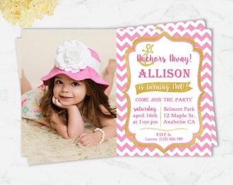 Girl Nautical Party, Birthday Party Printable Invitation Card, Nautical Birthday Invitation, Nautical Party invitation, Anchor Invitation