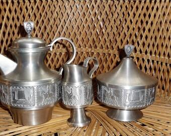 Norwegian Pewter Vase Norsk Tinn Rosemaling Vase Norway Tin