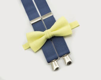 toddler suspenders and bow tie light yellow bowtie & denim suspenders toddler wedding outfit