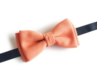 "Light Coral Soft Orange Pre tied Bowtie ""Lippmann"", Best Handmade Gift for Men, Weddings, Birthday, Valentines Day"