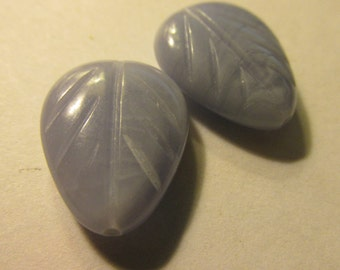Soft Blue Lace Agate Carved Leaf Bead, 20mm, Set of 2