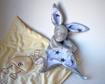 Baby comforter personalised Bunny newborn Accessory,  soft rabbit taggie toy unisex gender neutral gift handmade unique sentimental baptism
