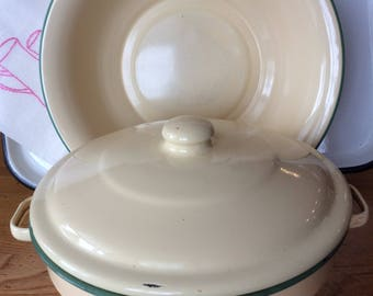 Vintage set yellow green enamel utility cooking casserole and wash basin