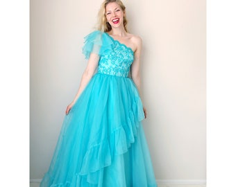 Vintage party dress | teal ruffle ball gown one shoulder scalloped formal gown evening dress prom dress | Mike Benet Formals | size x-small