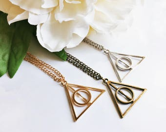 Harry Potter Deathly Hallows Necklace Jewelry Bride Bridesmaid Bachelorette Gift