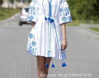 Vyshyvanka Linen Embroidered Dress Ukraine Mexican Dress White Linen Bohemian Dress Vyshyvanka Dress Tunic Kaftan Abaya. Free shipping