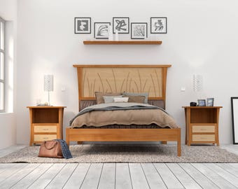 bed frame king queen wood headboard platform bed curly maple cherry - Wooden Bed Frames King Size