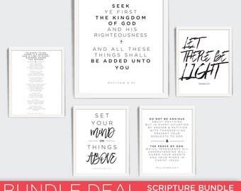 Scripture Print, Bundle, Christian Gift Printable, Printable Scripture Decor, Bible, Bible Verse, Printable Art, Matthew 633, Philippians 46