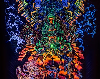 Psy backdrop 'Heave-n-Hell' fluorescent psychedelic tapestry UV blacklight  active wall hanging decoration psytrance goa party visual art
