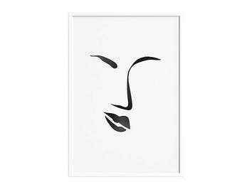 Croquis d'une femme 2 PRINTABLE | Woman's face sketch abstract Wall Art minimal artwork Poster Picasso Black white minimalist drawing