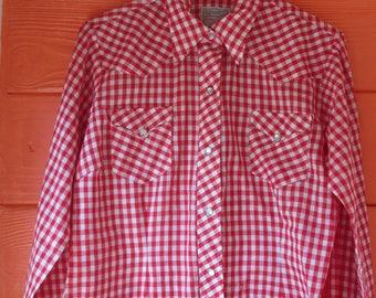 Vintage H Bar C Ranchwear Red Gingham Longtail  Shirt womens