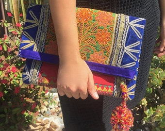 Double Sidec, Hand Embroidered, banjara, tribal, Clutch purse large - handmade bags - vintage material, medium purse - fold over clutch