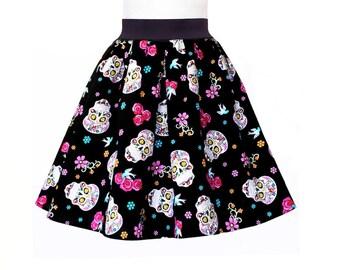 SALE! Sugar Skull Skirt, Flower Skull Skirt, The Day of the Dead Party Dress, Dia De Los Muertos Skull Skirt, Sugar Skull Party Skirt Dress