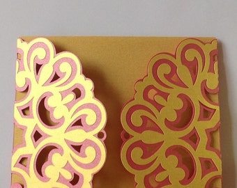 arabesque scroll invitation lace fuschia and gold