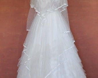 Vintage 80s Wedding Dress Gown Southern Belle Victorian Edwardian Ball Theater Lace Mesh White S