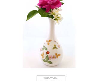 Wedgwood Wild Strawberry Bud Vase Bone China England