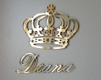 Princess Crown, Royal Crown with Your Name, Personalized Crown, Set of Royal Crown Wall Décor, Custom Hanging Signs, Wall Signs