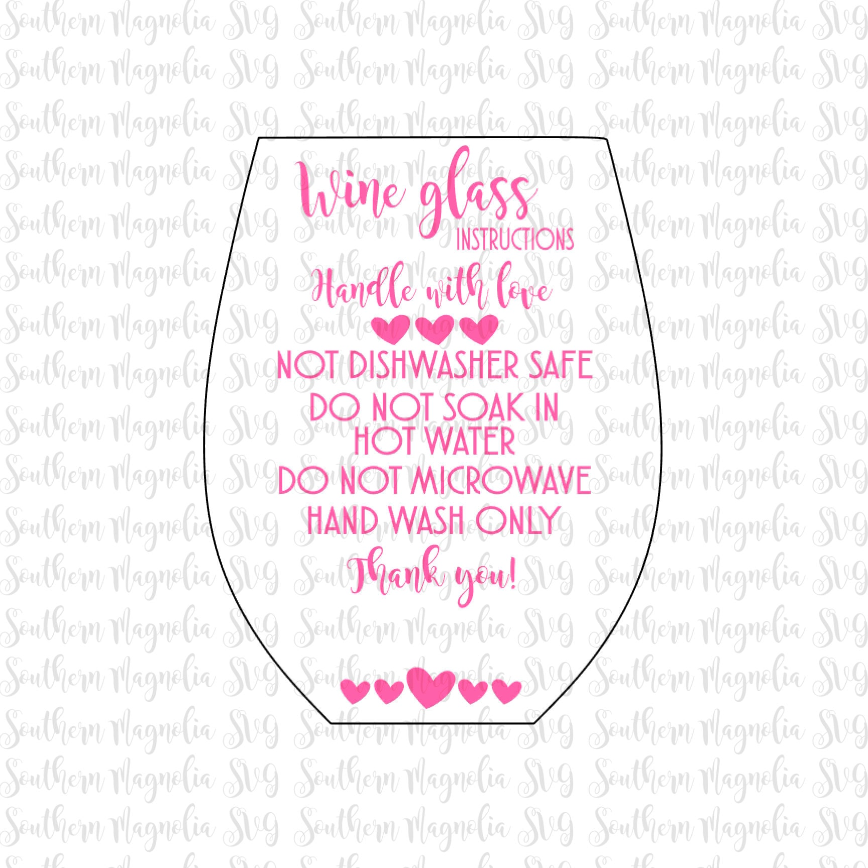 Stemless Wine Glass Care Card Instructions Print And Cut - Custom vinyl decal application instructionscare card printable care card instructions printable care