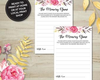 Pink Floral Favourite Memory Game, Hens Party, Bridal Shower, Bachelorette, Printable Games, Digital Download, Wedding Shower