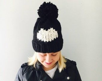 Chunky Knit Pom Pom Hat / Heart Hat / Color Black and White / Ready to ship