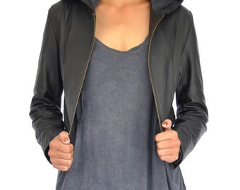 Black Ava Hood Nappa Lightweight Leather Jacket with one inside pocket - Size S/M