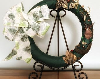 Animal Wreath, Animal Nature Jewelry, Animal Outdoor, Wreath Bows, Wreath For Front Door, Deer Decor, Fishing Gift, Leaves Wall Decor,