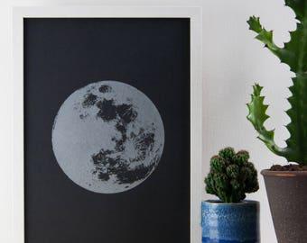 Moon Print, Silver Print, Realistic Moon, Boho, Bohemian, Poster, A3 Art Print, Print, Screenprint, Gift Idea, Print
