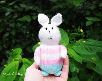 Knitted bunny, knitted rabbit, knitted toys, knitted stuffed animal, knit bunny rabbit, knitted plush toy, knitted animals, handmade toy