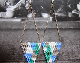 Triangle Drops on Chain Earrings