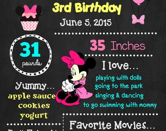 Minnie Mouse Birthday Chalkboard Poster - Disney Wall Art design - Birthday Poster Sign - Any Age