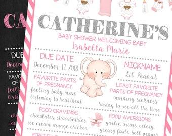 Baby Shower Chalkboard Poster Sign, Girl Baby Shower,  Announcement Sign, Pregnancy Poster, Printable Poster, Keepsake Memory Board